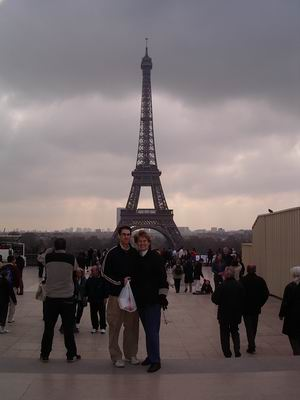 Mom and Kyle in front of Eiffel Tower